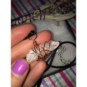 Clear Quartz Smaller Point Wire Wrapped Necklace